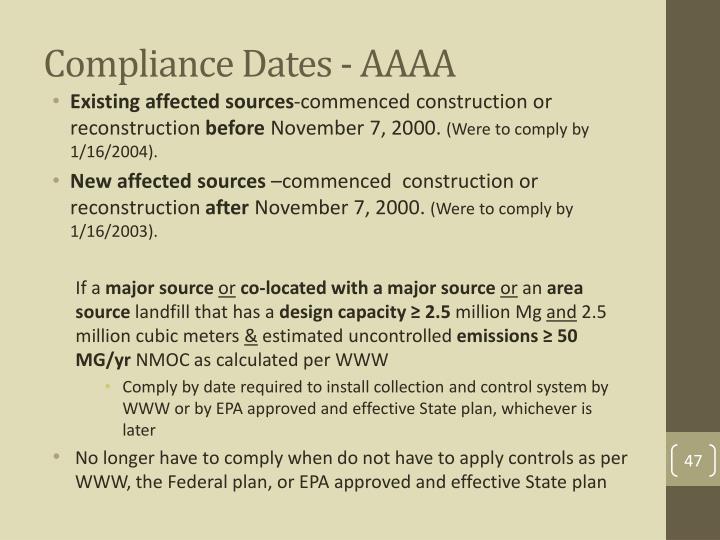 Compliance Dates - AAAA