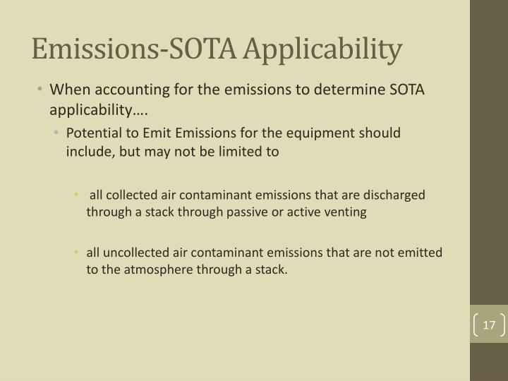 Emissions-SOTA Applicability