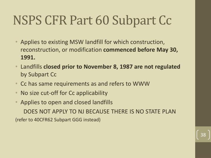 NSPS CFR Part 60 Subpart Cc