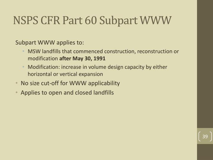 NSPS CFR Part 60 Subpart WWW