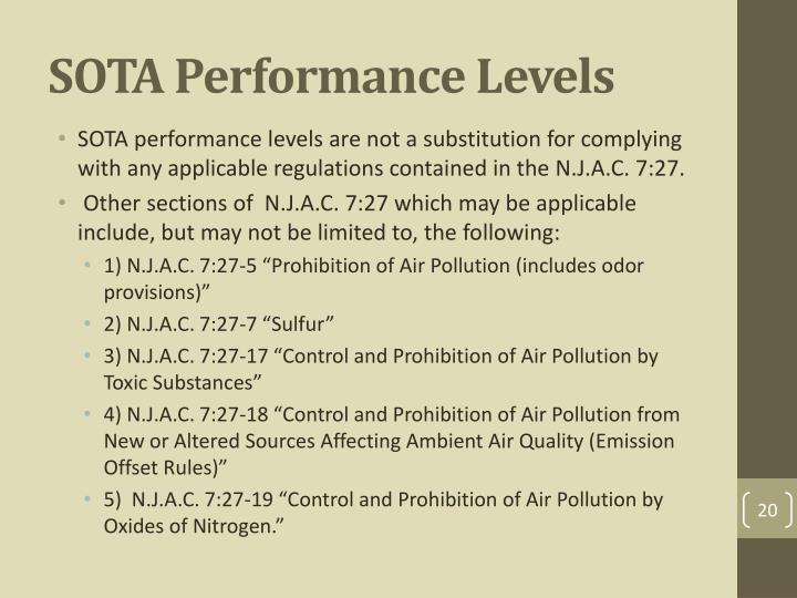 SOTA Performance Levels