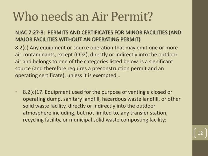 Who needs an Air Permit?