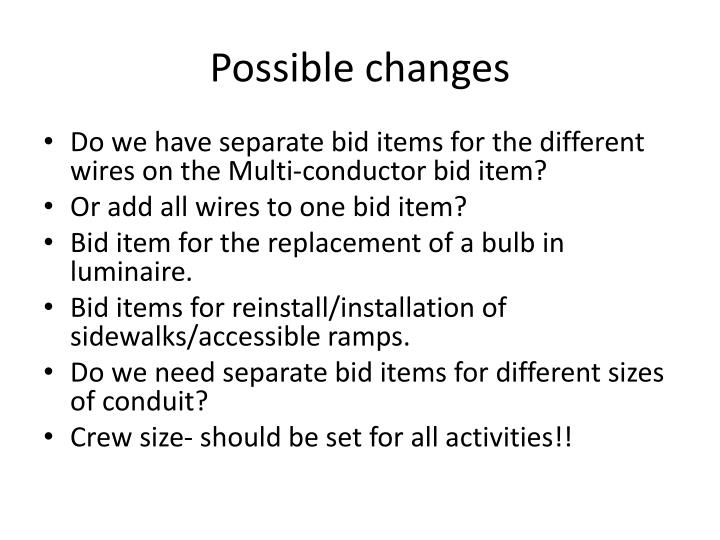 Possible changes