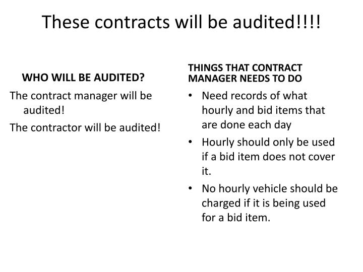 These contracts will be audited!!!!