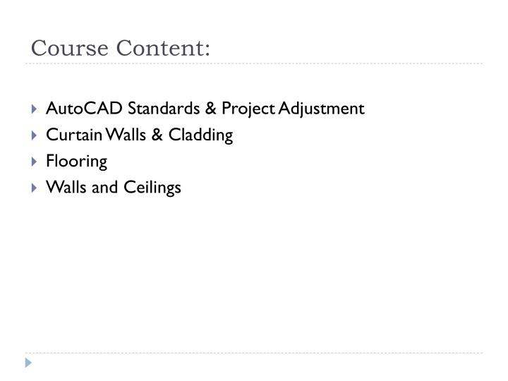 Course Content:
