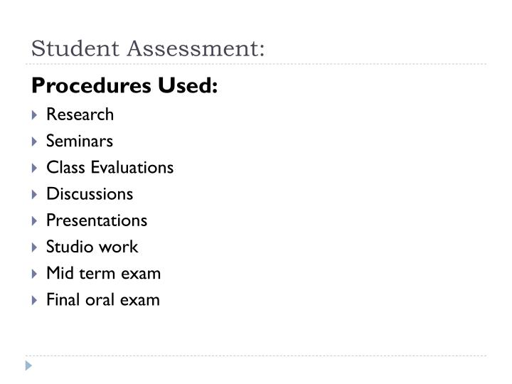 Student Assessment:
