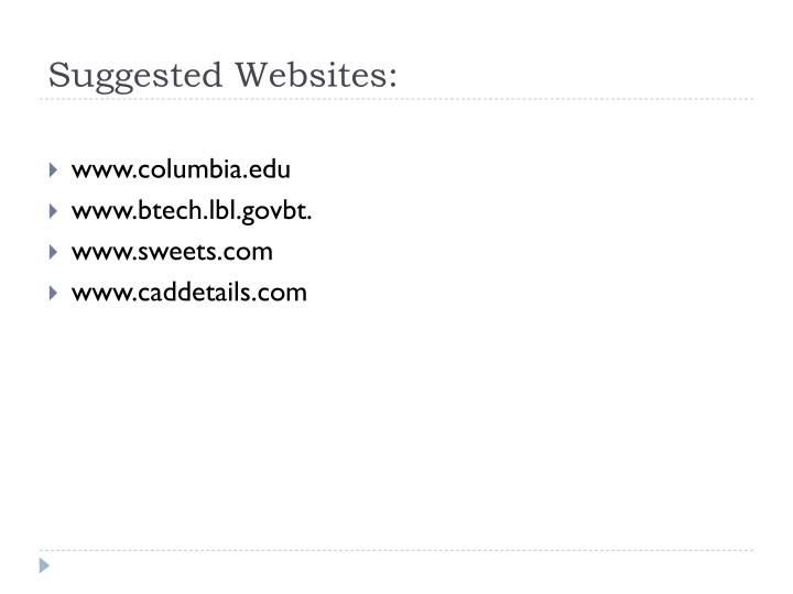 Suggested Websites: