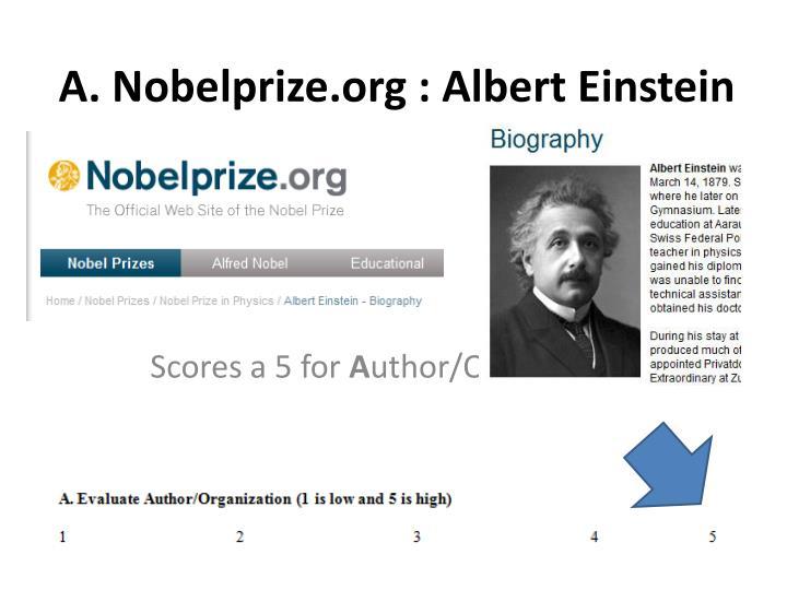 A. Nobelprize.org : Albert Einstein