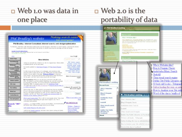 Web 1.0 was data in one place