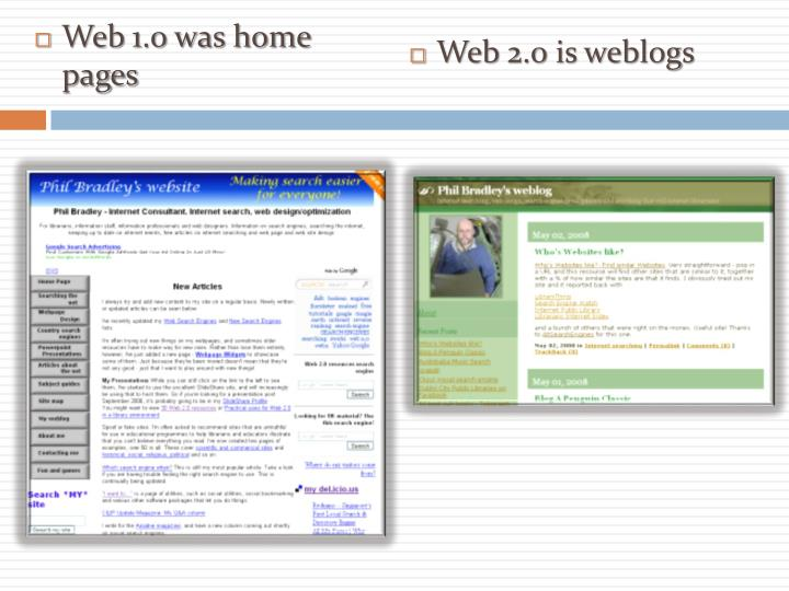 Web 1.0 was home pages