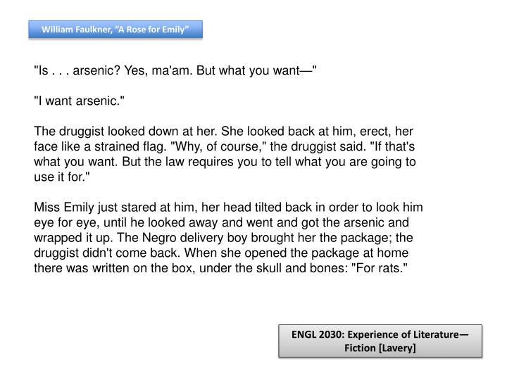 "William Faulkner, ""A Rose for Emily"""