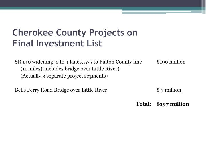 Cherokee county projects on final investment list