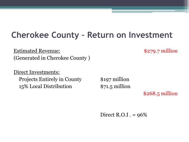 Cherokee County – Return on Investment