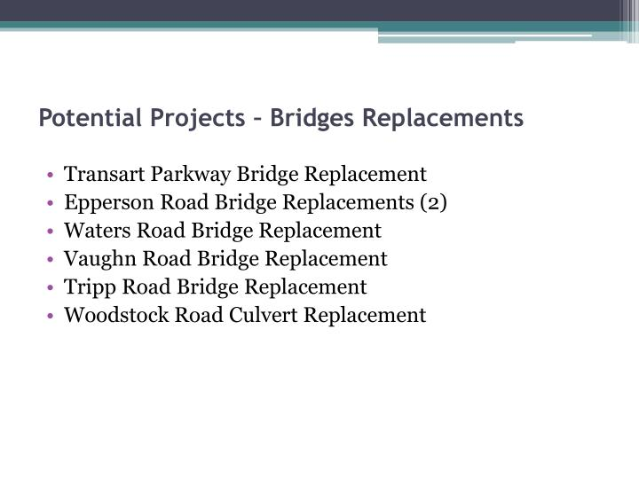 Potential Projects – Bridges Replacements