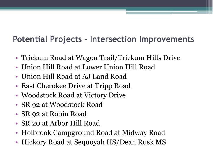 Potential Projects – Intersection Improvements