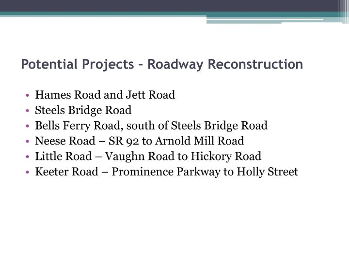 Potential Projects – Roadway Reconstruction