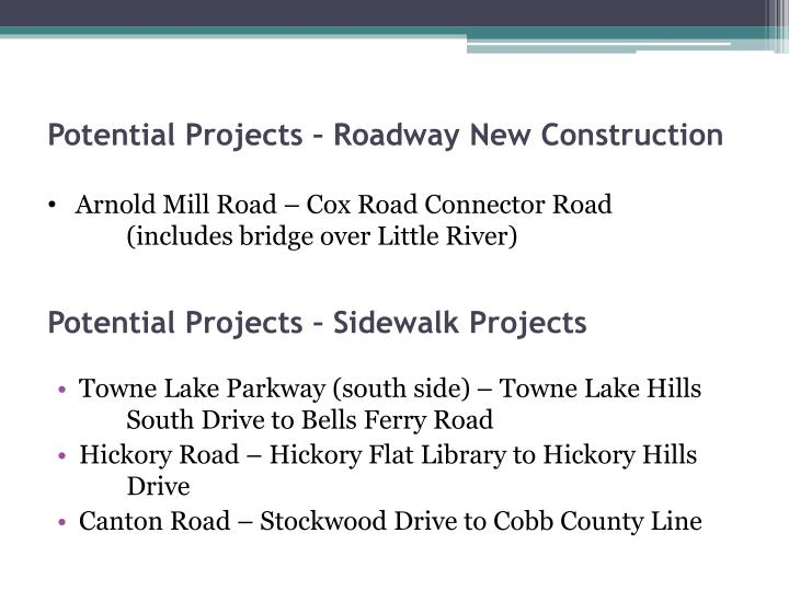 Potential Projects – Sidewalk Projects