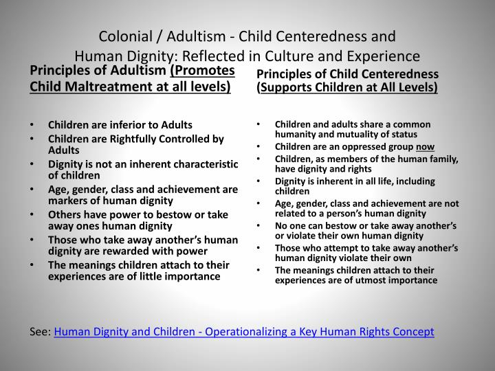 Colonial / Adultism - Child Centeredness and