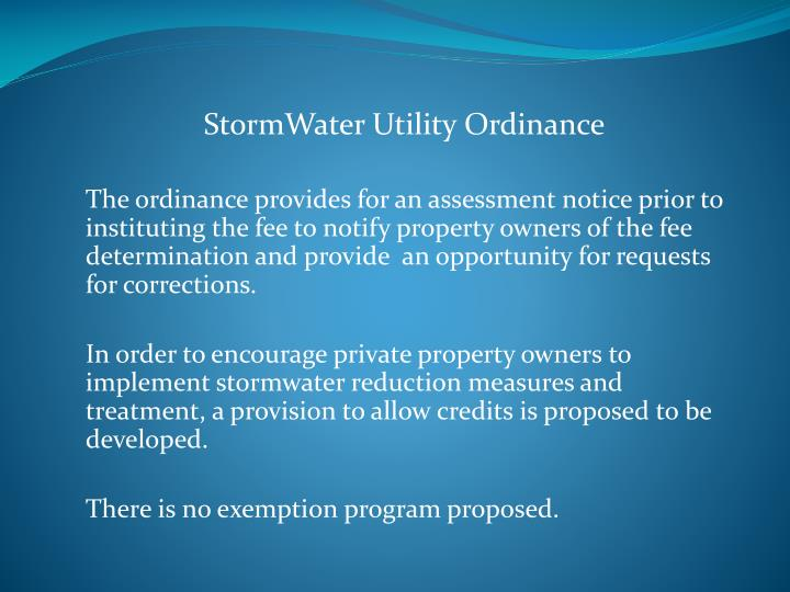 StormWater Utility Ordinance