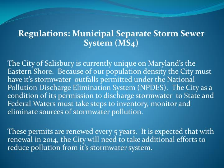 Regulations: Municipal Separate Storm Sewer System (MS4)