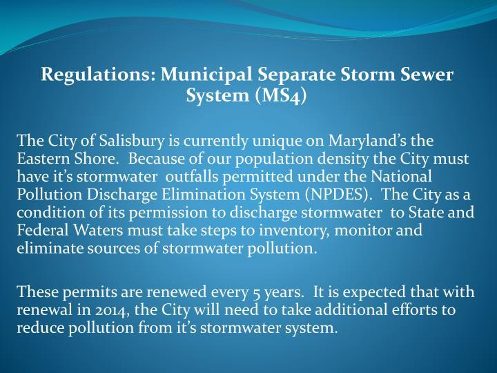 Regulations: Municipal Separate Storm Sewer System (MS4)