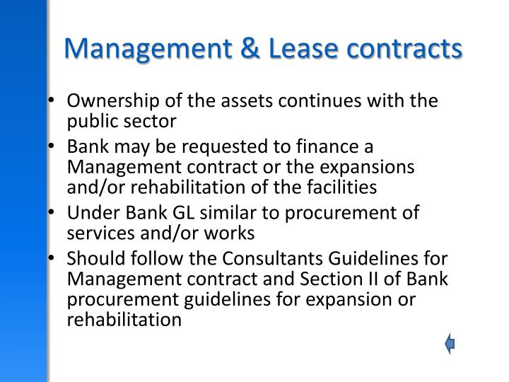 Management & Lease contracts