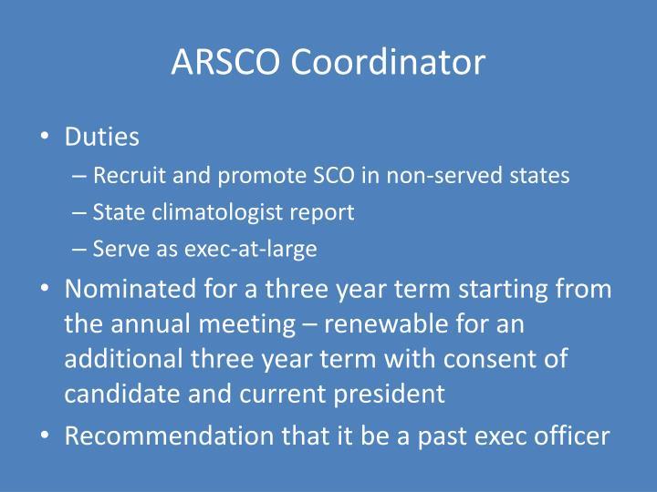 ARSCO Coordinator
