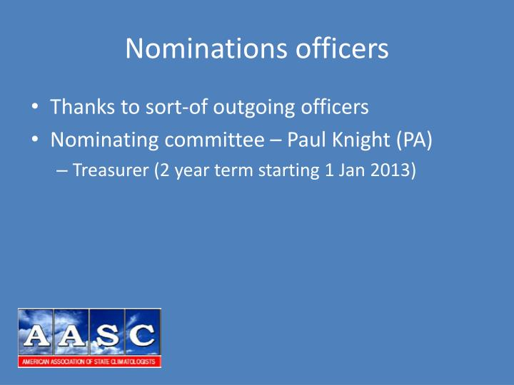 Nominations officers