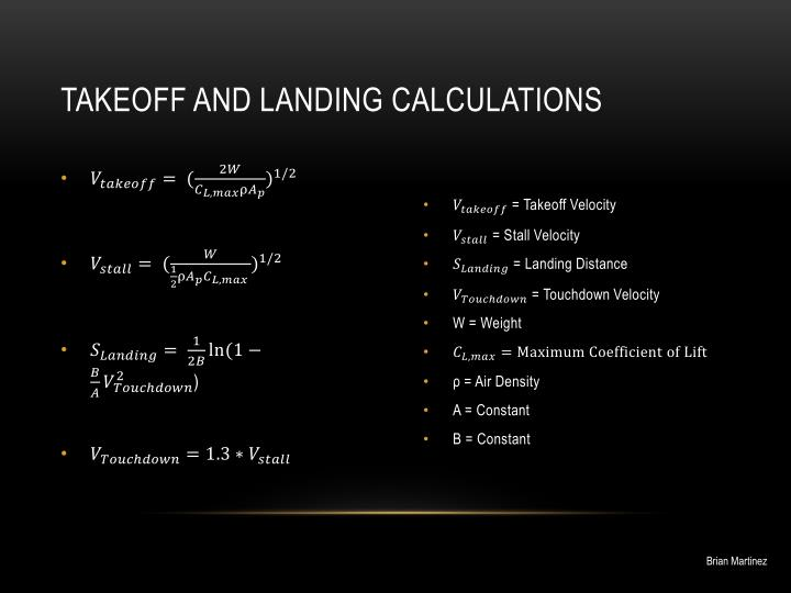 Takeoff and landing calculations