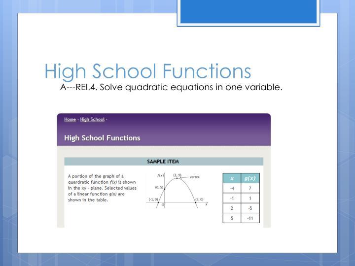 High School Functions