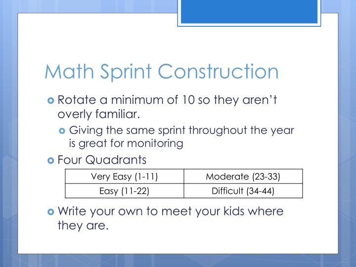 Math Sprint Construction