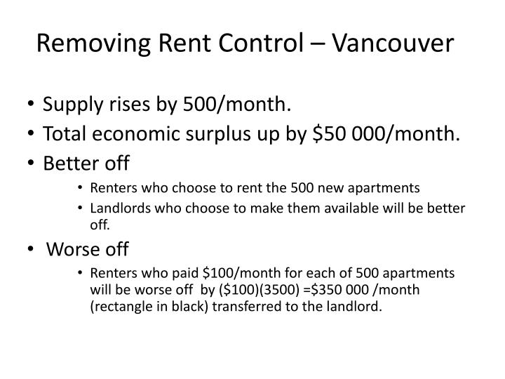 Removing Rent Control – Vancouver