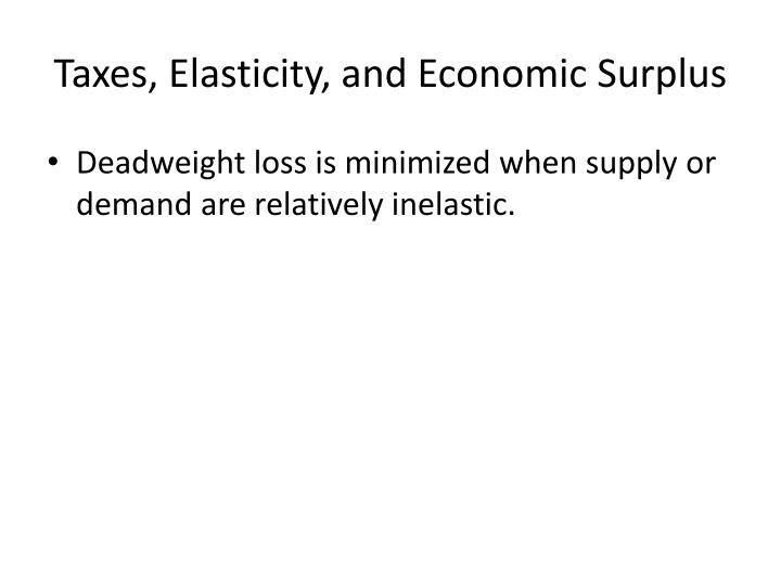 Taxes, Elasticity, and