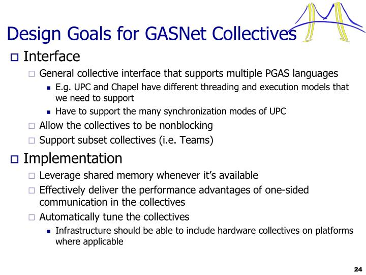 Design Goals for GASNet Collectives