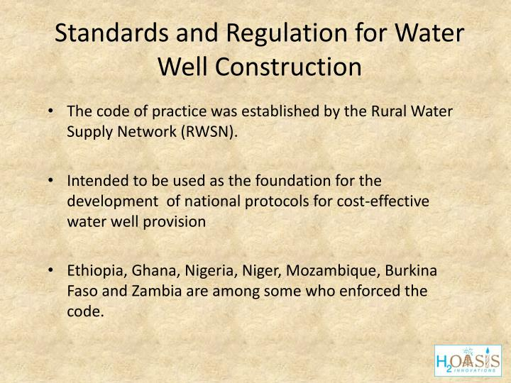 Standards and Regulation for Water Well Construction