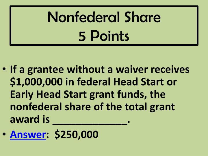 Nonfederal Share