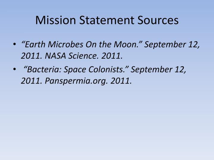 Mission Statement Sources