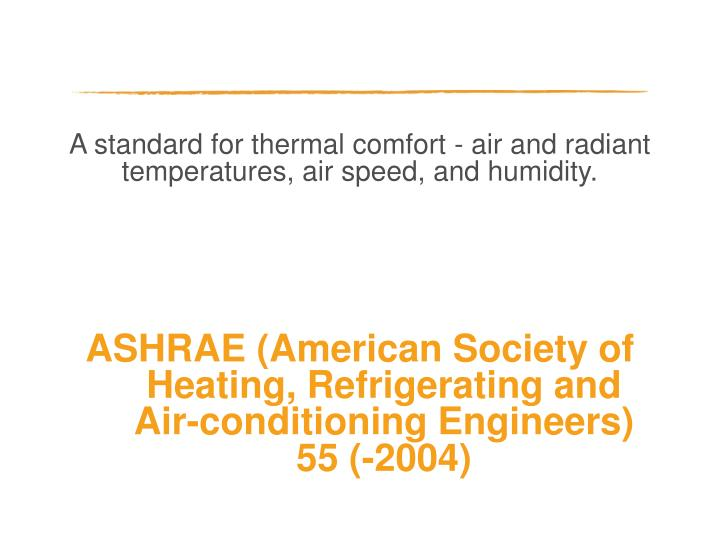 A standard for thermal comfort - air and radiant temperatures, air speed, and humidity.