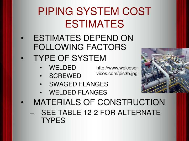 PIPING SYSTEM COST ESTIMATES