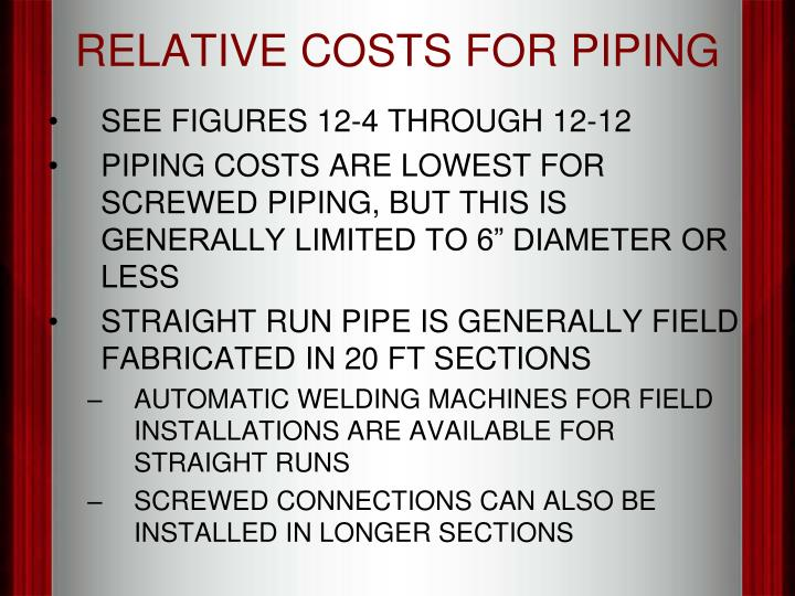RELATIVE COSTS FOR PIPING