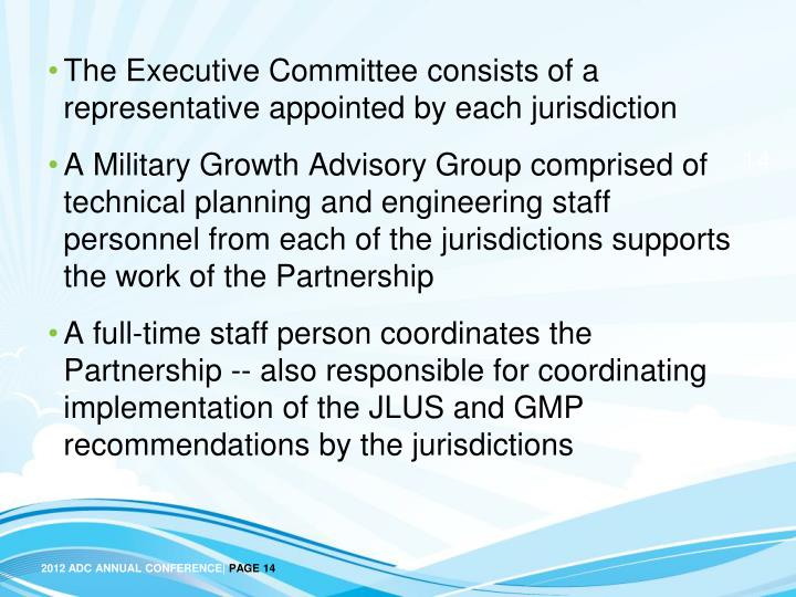 The Executive Committee consists of a representative appointed by each jurisdiction