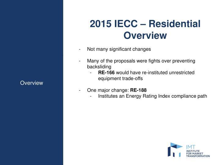 2015 IECC – Residential