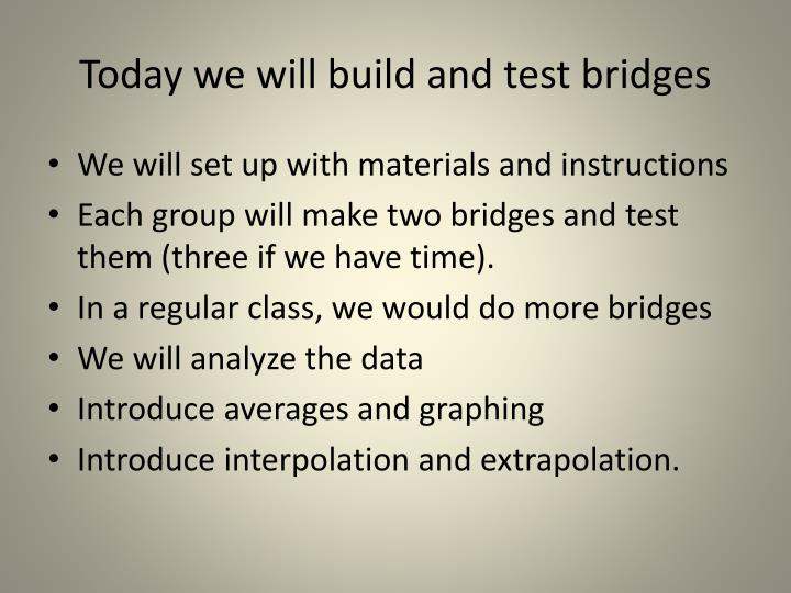 Today we will build and test bridges