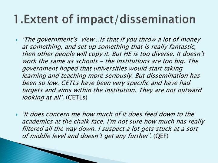 1.Extent of impact/dissemination