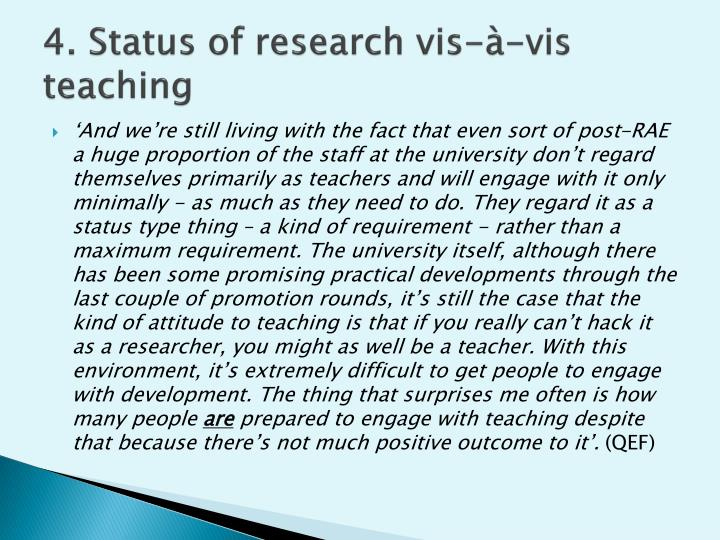 4. Status of research vis-à-vis teaching