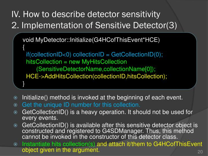IV. How to describe detector sensitivity