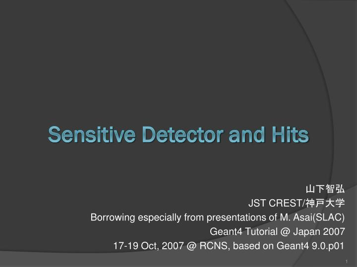 Sensitive detector and hits
