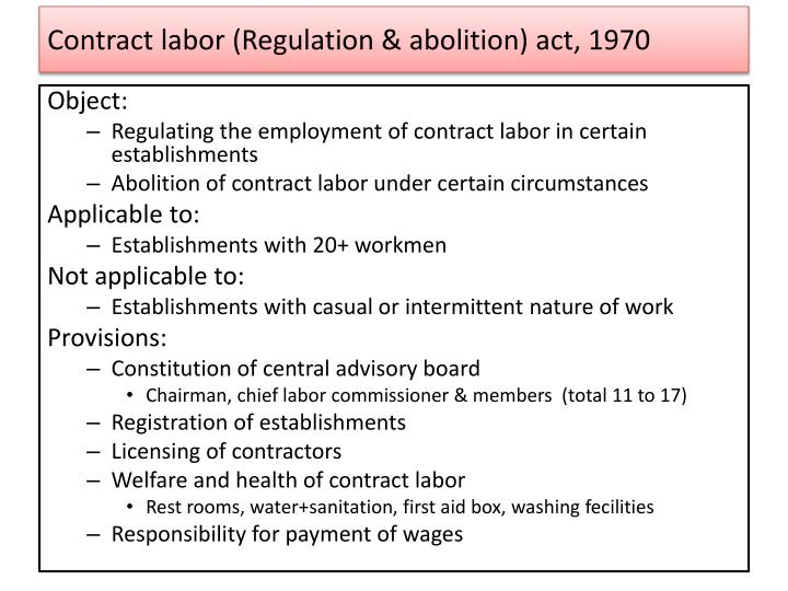 Contract labor (Regulation & abolition) act, 1970