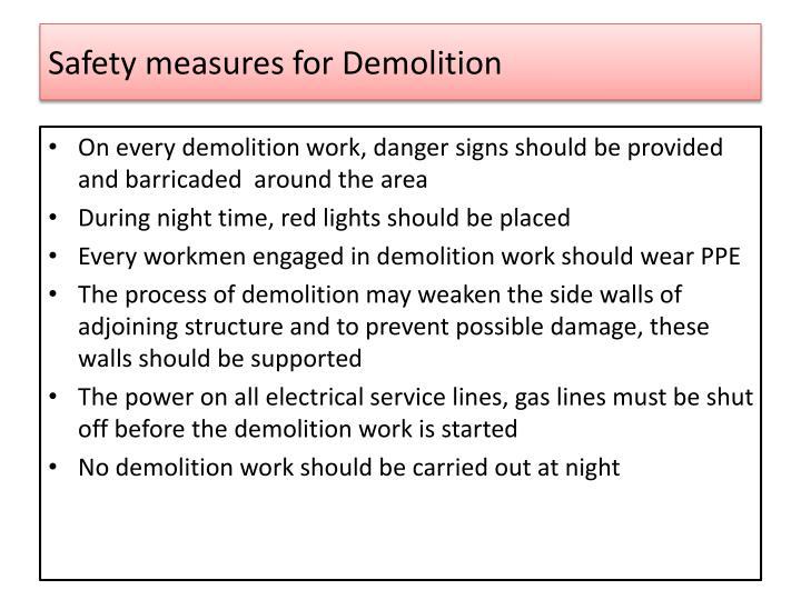 Safety measures for Demolition