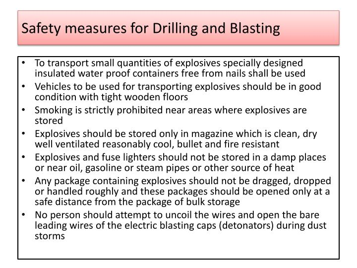 Safety measures for Drilling and Blasting